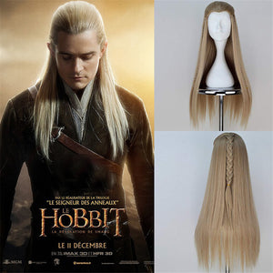 Movie The Hobbit The Lord of the Rings Legolas Gold Long Braided Cosplay Wig Cosplay for Boys Adult Men Halloween Carnival