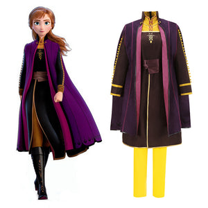 New 2019 Disney Film Frozen 2 Princess Anna Cosplay Costume Full Set Outfit for Halloween Carnival Party