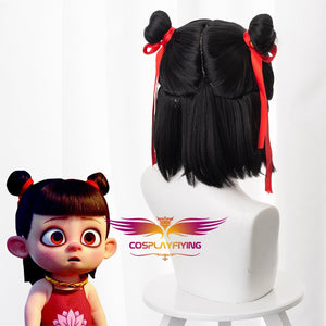 New Movie NE ZHA Nezha Child Version Black Cosplay Wig Cosplay for Kids Boys Halloween Carnival Party