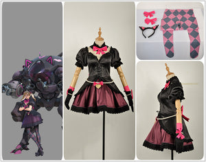 OW Overwatch D.VA DVA Hana Song Lolita Black Cat Officer Dress Cosplay Costume Outfit