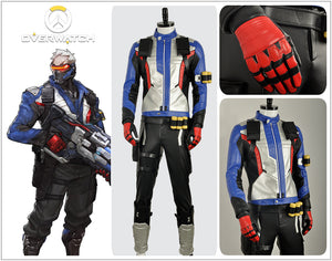 OW Overwatch Soldier 76 PU Leather Jacket Coat Outfit Cosplay Costume For Halloween Carnival