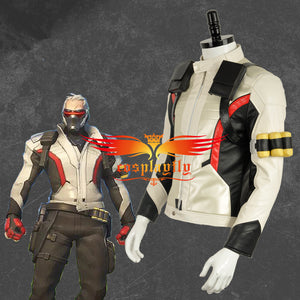OW Overwatch Soldier 76 PU Leather Jacket Only Cosplay Costume White Version For Adult Men Halloween Carnival
