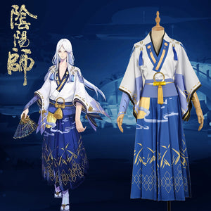 Onmyoji Summer Festivity Seimei Moonlight Fancy Kimono Outfit Cosplay Costume For Adult
