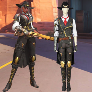 Overwatch Ashe Elizabeth Caledonia Damage Hero Cosplay Costume Full Set Halloween Carnival