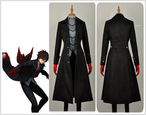 Persona 5 Leading Character Hero Kaitou Male Black Jacket Trench Shirt Pants Clothing Cosplay Costume