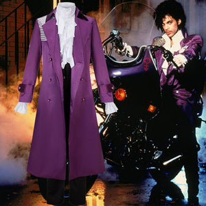 Purple Rain Prince Cosplay Costume Purple Fancy Suit Trench Coat for Halloween Carnival