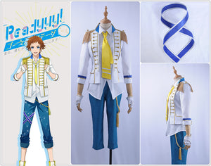 Readyyy SP!CA COS Hiro Igarashi Cosplay Costume White Men Jacket Shirt Blue Shorts Academy Uniform Tie Gloves