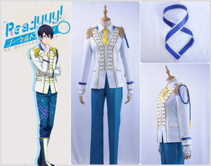 Readyyy SP!CA Cos Samon Nishikido Cosplay Costume White Men Jacket Shirt Outfit Academy Uniform Yellow Tie Gloves