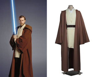 Star Wars Obi Wan Kenobi Jedi Knight Battle Robe Adult Men Cosplay Costume Full Set for Halloween Carnival