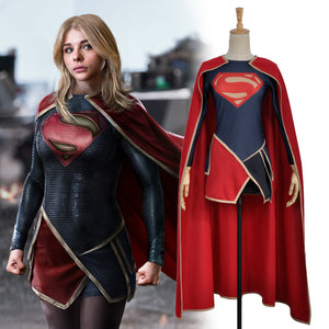 Supergirl Kara Zor-El Dress Cape Lycra Spandex Cosplay Costume For Adult Women Dress Robe For Halloween Carnival