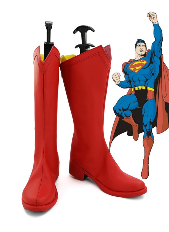Superhero Superman Clark Kent Cosplay Shoes Boots Custom Made for Adult Men and Women
