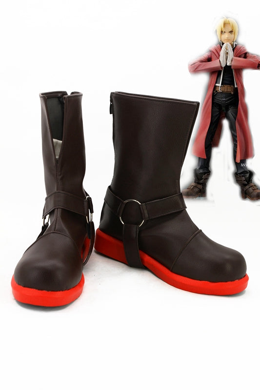 TV Anime Fullmetal Alchemist Edward Elric Cosplay Shoes Boots Custom Made for Adult Men and Women Halloween Carnival