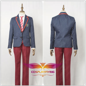 TV Series Elite Junior High School Uniform Blue Male Cosplay Costume Custom Made for Adult Men Carnival Halloween
