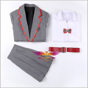 TV Series Elite Junior High School Gray Uniform Female Cosplay Costume Custom Made for Adult Halloween Carnival