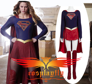 TV Supergirl Kara Danvers Suit Super Girl Zor-El Dress Battleframe Cosplay Costume For Adult For Halloween + Red Cape