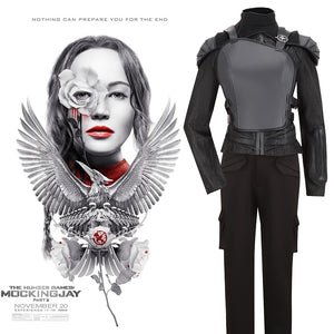 The Hunger Games: Part 2 Katniss Everdeen Black Version Cosplay Costume Adult Women Outfit