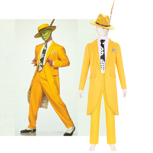 The Mask Stanley Cosplay Costume with Hat for Halloween Carnival Adult Man Outfit