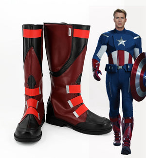 The Avengers Captain America Cosplay Shoes Boots Custom Made for Adult Men and Women