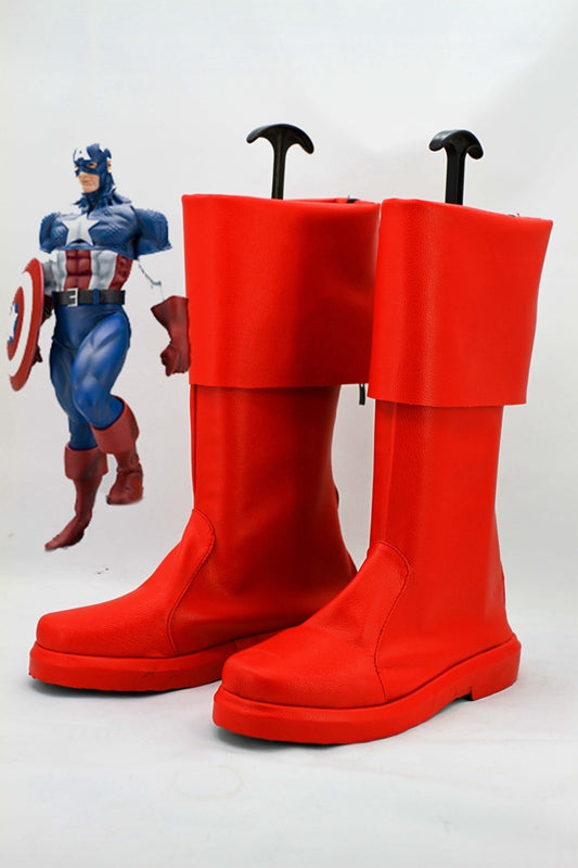 The Avengers Captain America Steve Rogers Cosplay Shoes Boots Custom Made for Adult Men and Women