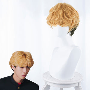 Tokyo From Today It's My Turn Mitsuhashi Takashi Short Yellow Black Curly Cosplay Wig Cosplay for Boys Adult Men Halloween Carnival Party
