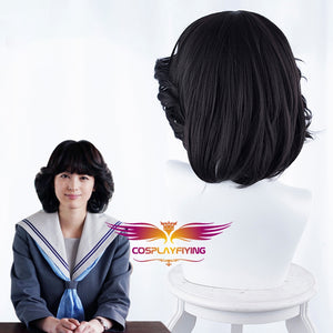 Tokyo From Today It's My Turn Riko Akasaka Short Black Curly Cosplay Wig Cosplay for Girls Adult Women Halloween Carnival Party
