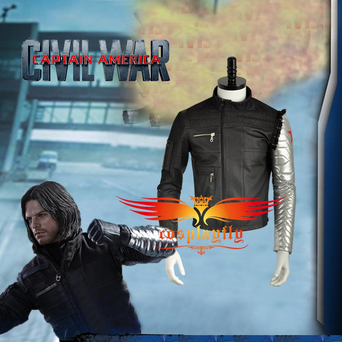 Captain America Civil War Avengers Winter Soldier James Buchanan Bucky Barnes Cosplay Costume Only Jacket Top