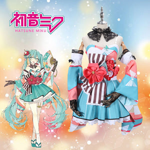 Vocaloid 39culture WORLD&FES MIKU Kimono Cosplay Costume for Halloween Carnival