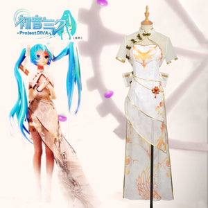 Vocaloid Cos Project Diva Miku Organza TDA Cheongsam Cosplay Costume Custom Chiffon Dress Gloves Women Outfit Clothing Dress