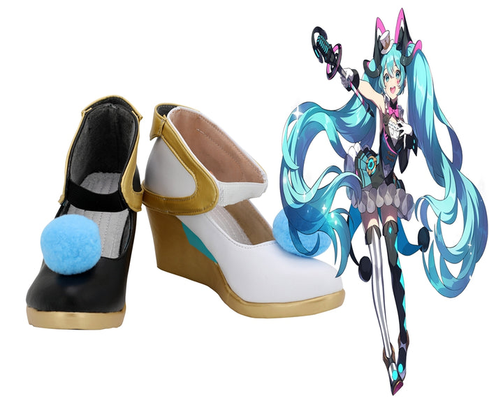 Vocaloid Hatsune Miku Magical Mirai Cosplay Shoes Boots Custom Made for Adult Men and Women Halloween Carnival