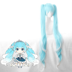 Vocaloid Hatsune Snow Miku Gradient Blue White 120cm Long Wavy Chip Ponytails Cosplay Wig Cosplay for Adult Women Halloween Carnival