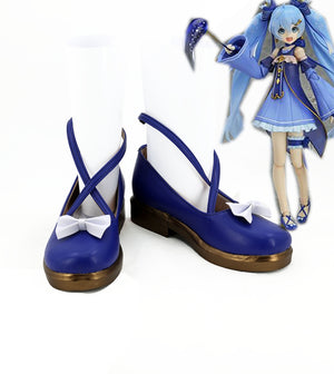 Vocaloid Snow Miku Cosplay Shoes Boots Custom Made for Adult Men and Women Halloween Carnival