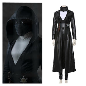 Watchmen Angela Abar Cosplay Costume Faux Leather Black Trench Outfit for Adult Halloween