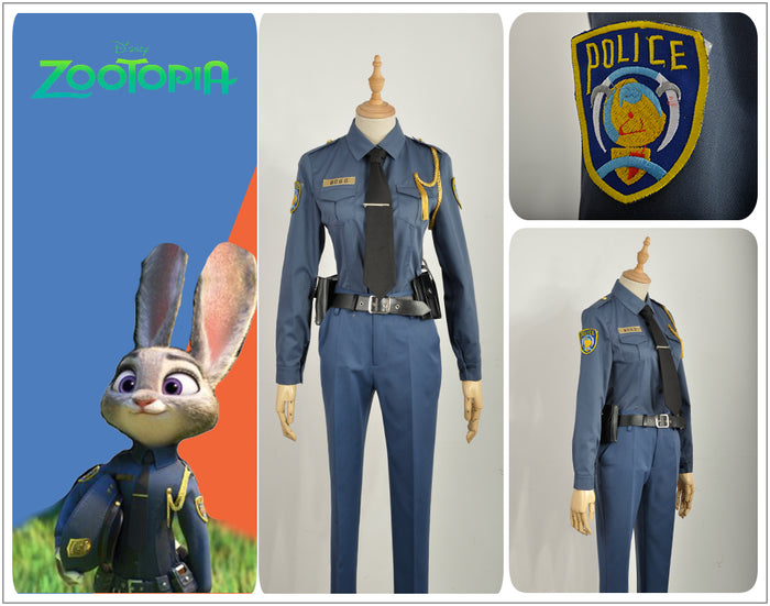 Zootopia Officer Rabbit Judy Hopps Police Uniform Outfit Clothing Cosplay Hat Bag Costume with Rabbbit Ear Tail