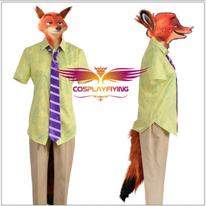 Zootopia Vulpes Nick Wilde Uniform Cosplay Costume Full Set Short Sleeve Shirt Fox's Plush Ear Tail