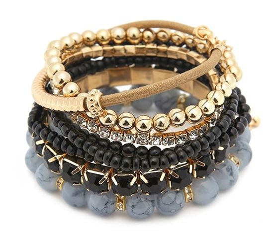Black & Gold Stackable Bracelets
