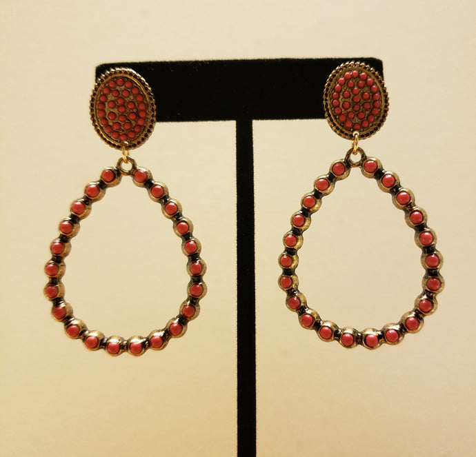 Coral Red Stone Dangles