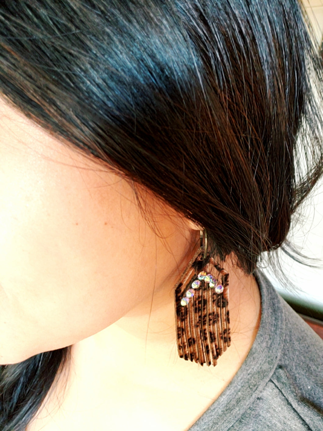 Leather Leopard Fringe Earrings