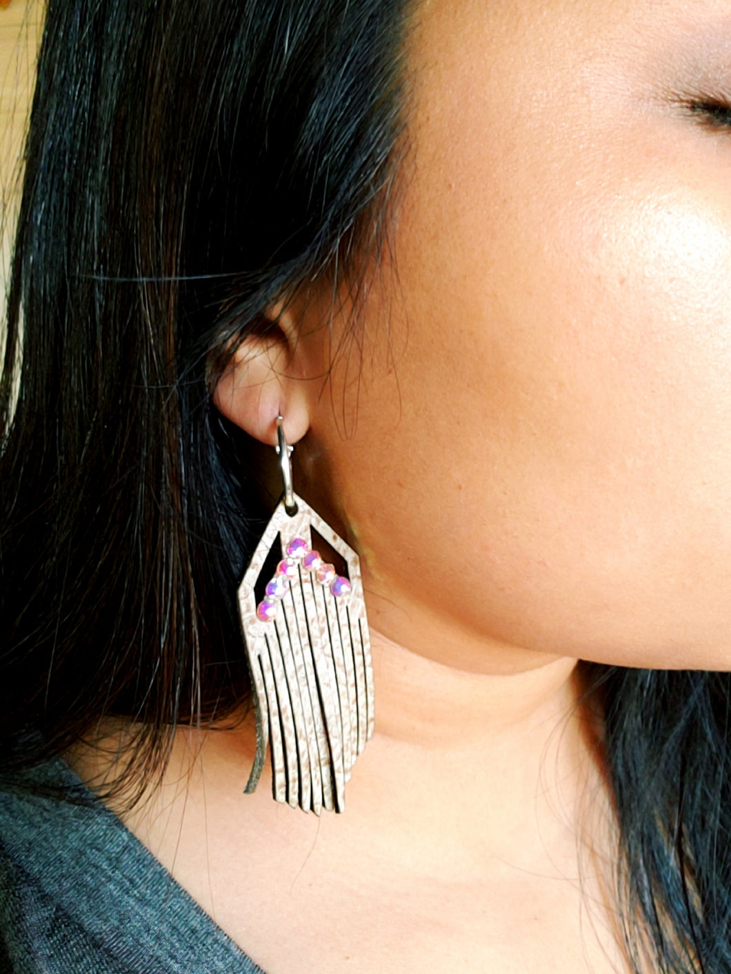 SOLD OUT Leather Tan Fringe Earrings