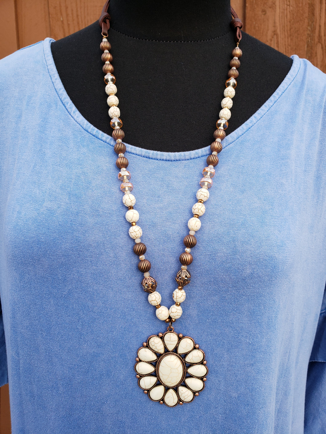 Sunflower Ivory Stone Necklace