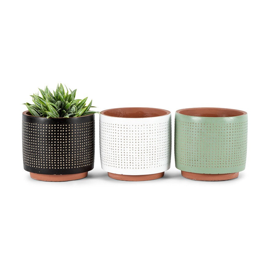 Sequin potplanters w/hole set 3-thenestsw