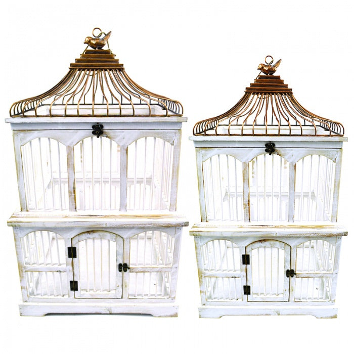 Antique White Wood/Metal Birdcage-thenestsw
