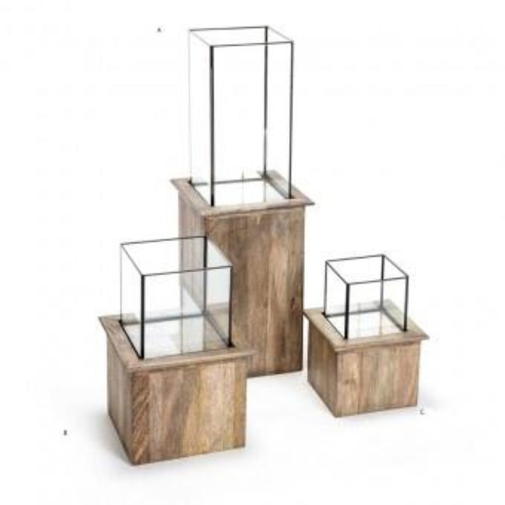 Mango Wood Base Glass Top Terrarium/Candle Holder-thenestsw