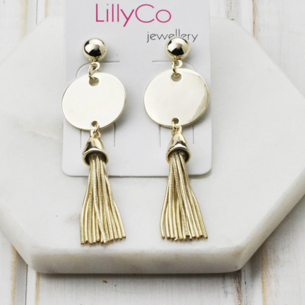Disc Tassel Earring-thenestsw