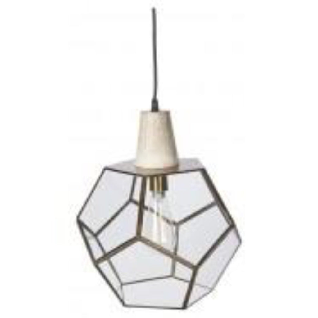 Aria Brass Wood Geo Pendant-thenestsw