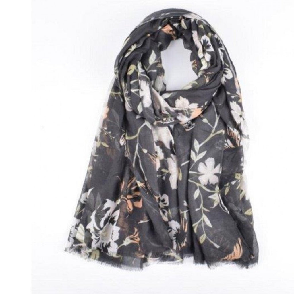 Charcoal Floral Scarf-thenestsw