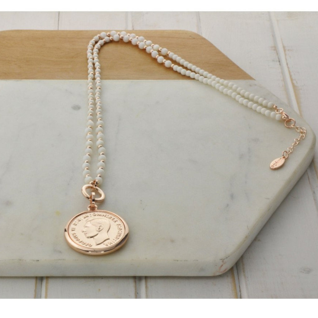 White Stone Beads with Rose Coin Necklace-thenestsw
