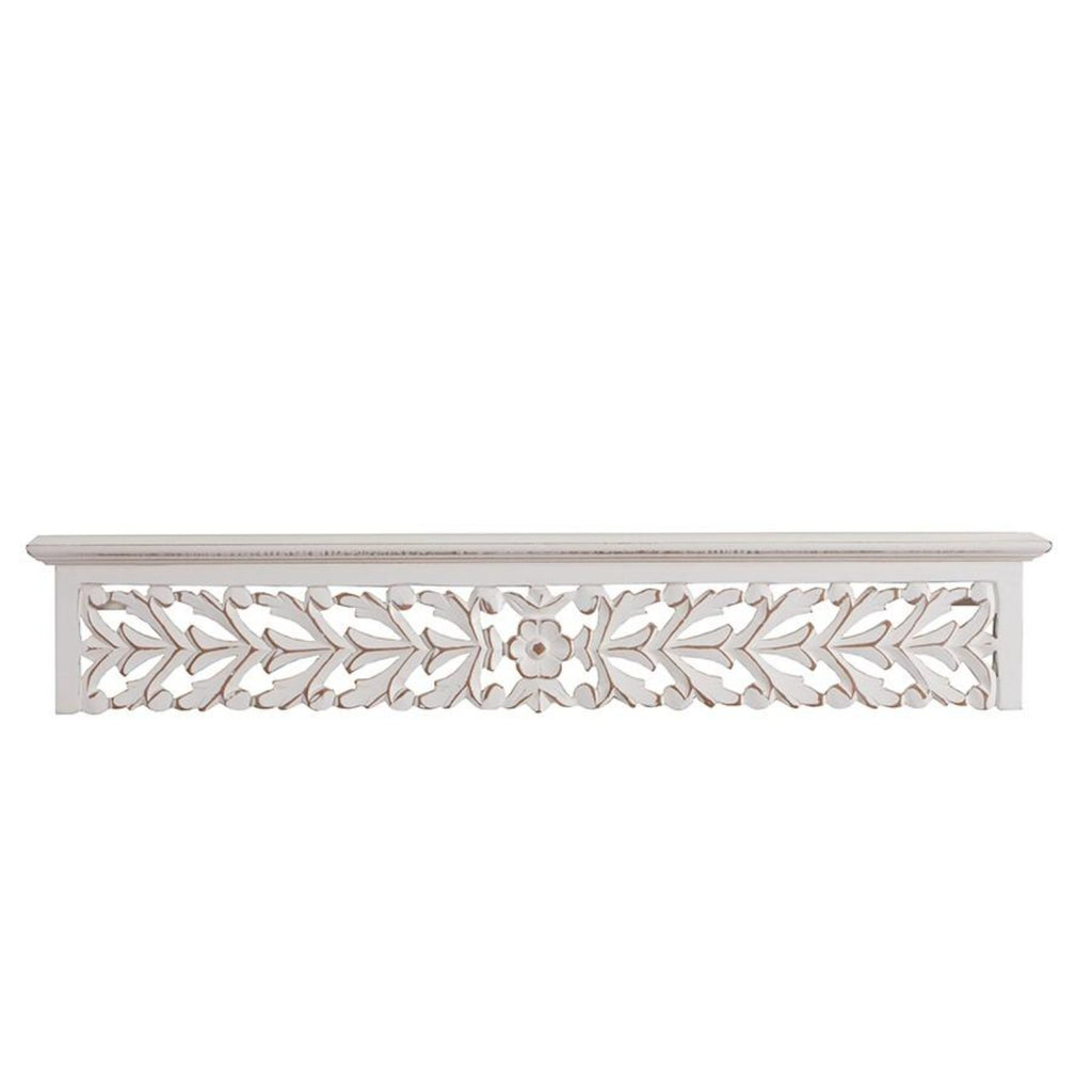 Ornate Hand carved Distressed Wall Shelf-thenestsw