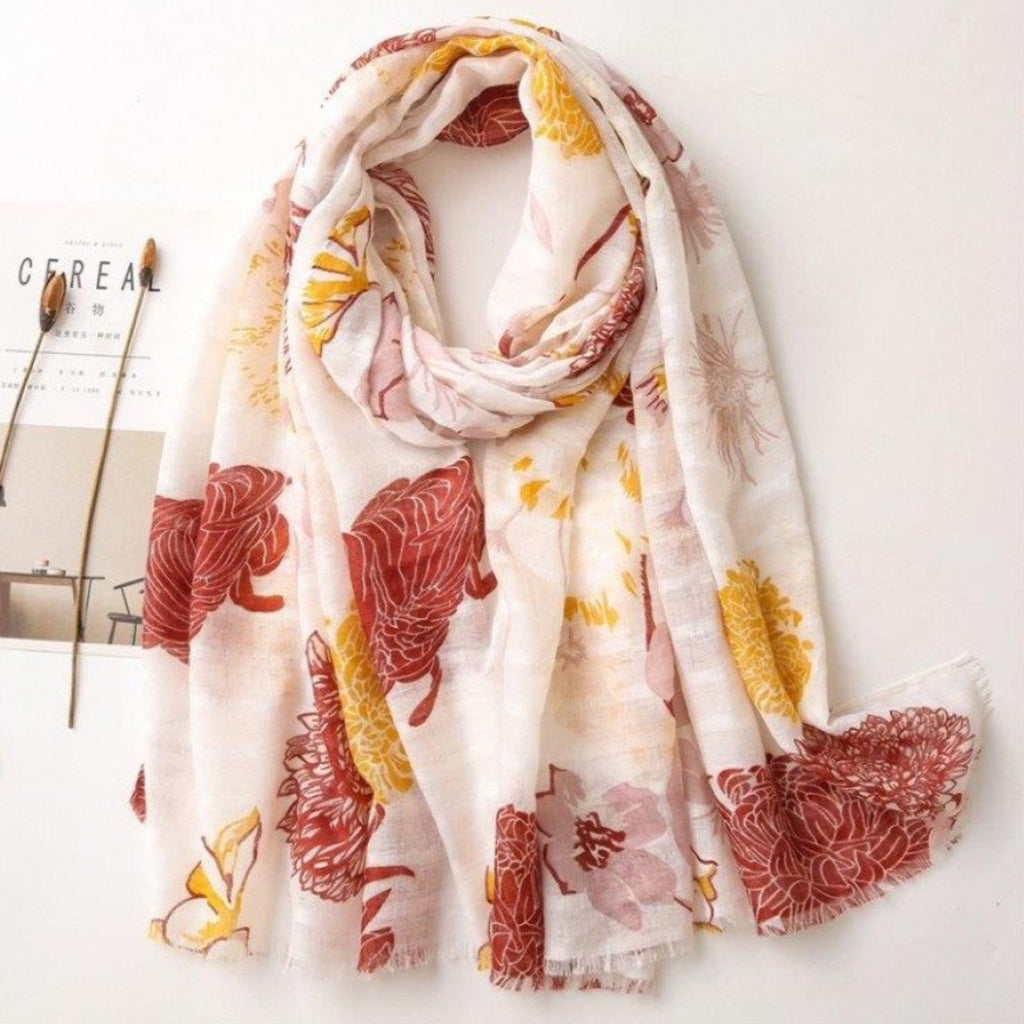 Yellow & Rust Print Scarf-thenestsw