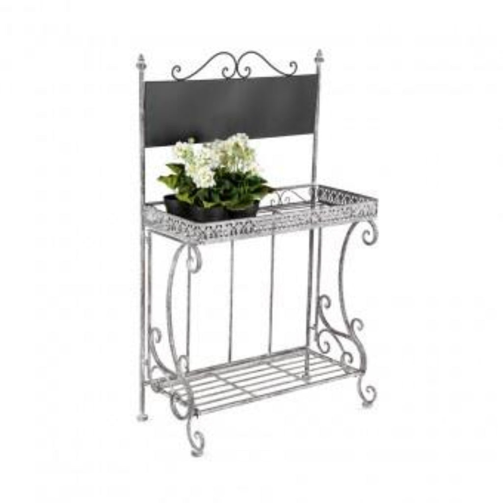 Ornate 2 Shelf Plant Stand w/blackboard-thenestsw