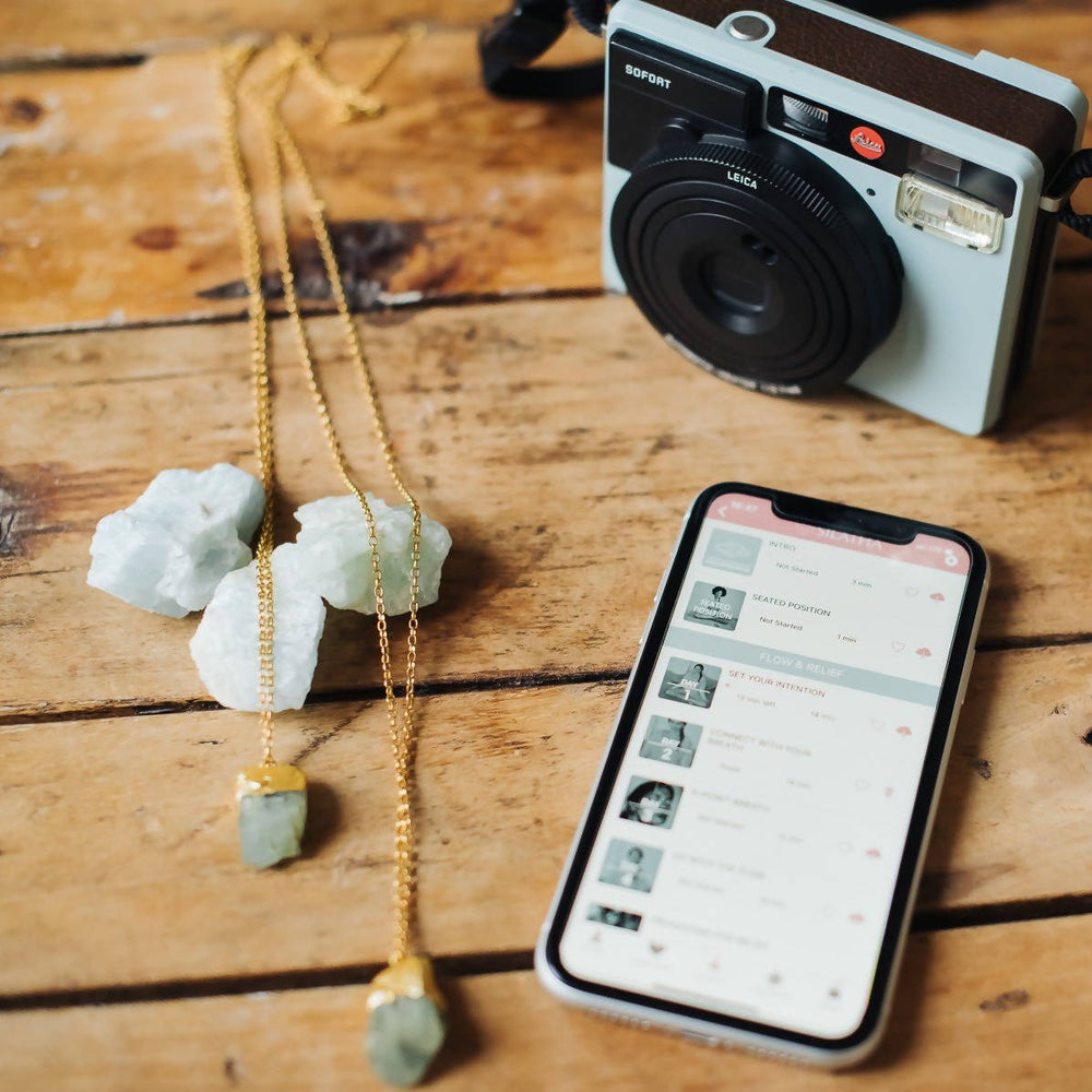 ROUGH AQUAMARINE NECKLACE + MEDITATION APP